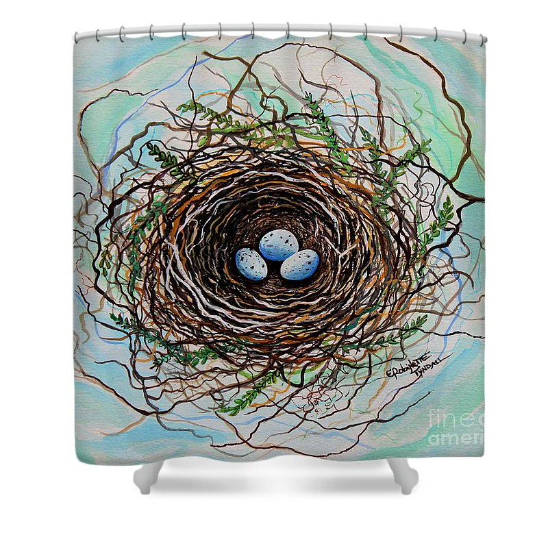 Bird Nest Shower Curtain featuring the painting The Botanical Bird Nest by Elizabeth Robinette Tyndall