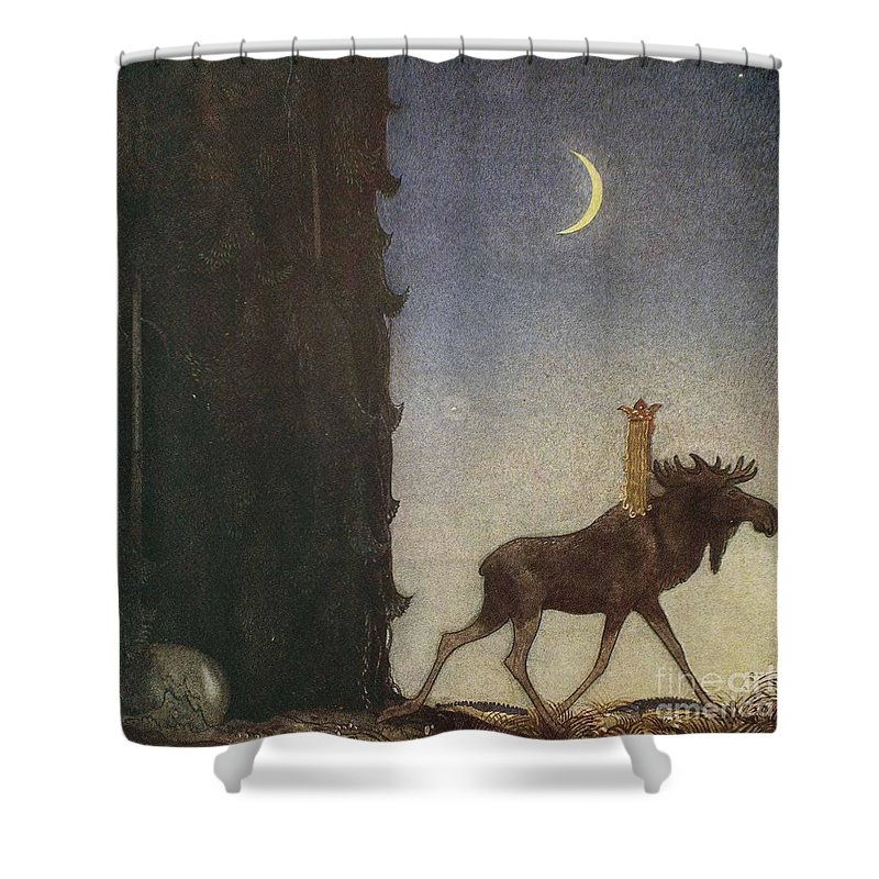 John Bauer Shower Curtain Featuring The Painting Boy And Trolls Or Adventure By