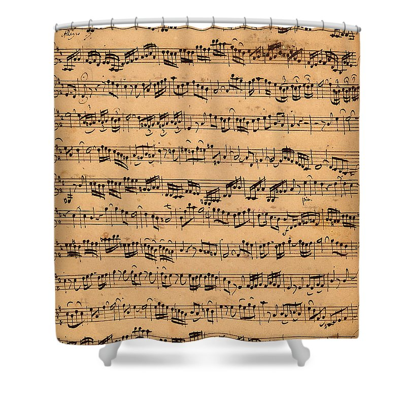 Music; Musician; Score; Composition; Composer; Classical Music; Baroque; Notes; Note; Notation; Handwritten; Manuscript; Handwriting; First Violin Shower Curtain featuring the drawing The Brandenburger Concertos by Johann Sebastian Bach