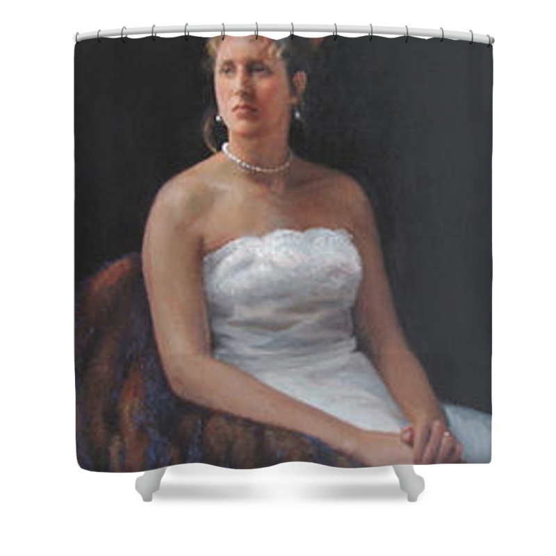 Formal Portrait Shower Curtain featuring the painting The Bride by Dianne Panarelli Miller