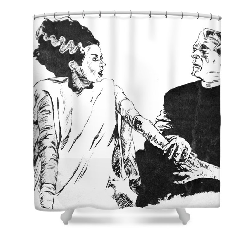 Frankenstein Shower Curtain Featuring The Painting Bride Of By Bryan Bustard