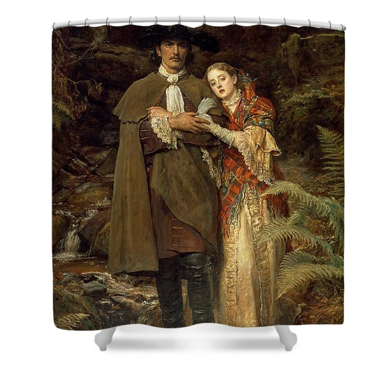 The Shower Curtain featuring the painting The Bride of Lammermoor by Sir John Everett Millais