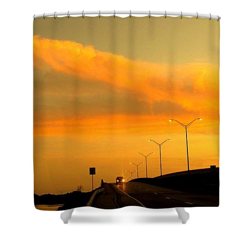 Sunset Shower Curtain featuring the photograph The Bridge At Sunset by Ian MacDonald