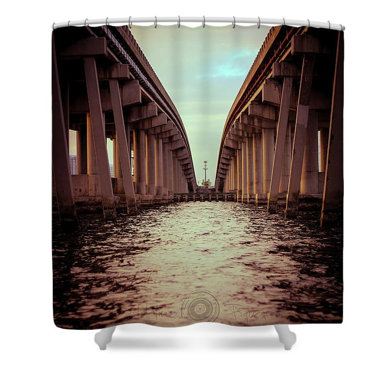 Photography Shower Curtain featuring the photograph The Bridge by Gaddeline Figueroa
