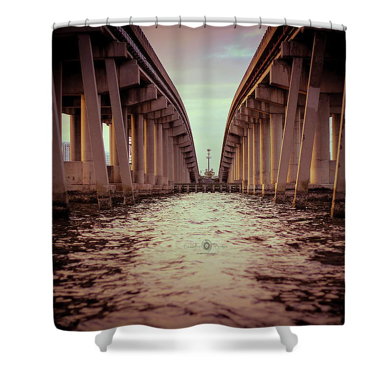 Photography Shower Curtain featuring the photograph The Bridge II by Gaddeline Figueroa