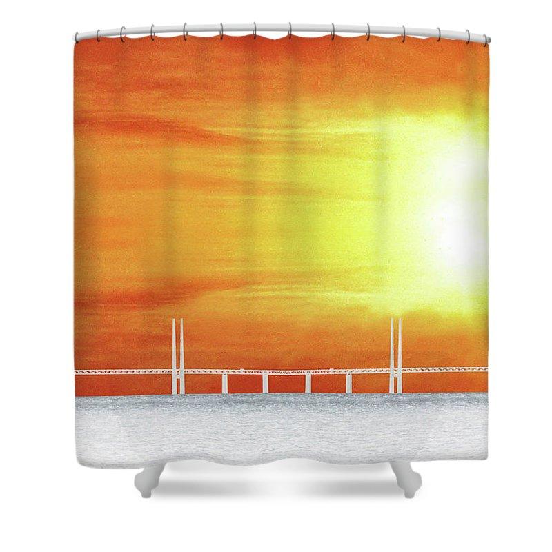 Sun Shower Curtain featuring the photograph The Bridge by Munir Alawi