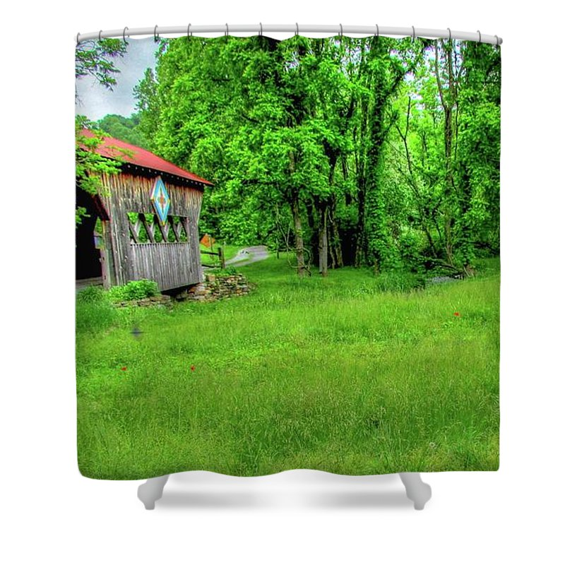 Covered Bridge Landscape Nature Country Rustic Unicoi Tennessee Lush Green Poppies Shower Curtain featuring the photograph The Bridge Of Farmhouse Gallery by Judy Baird