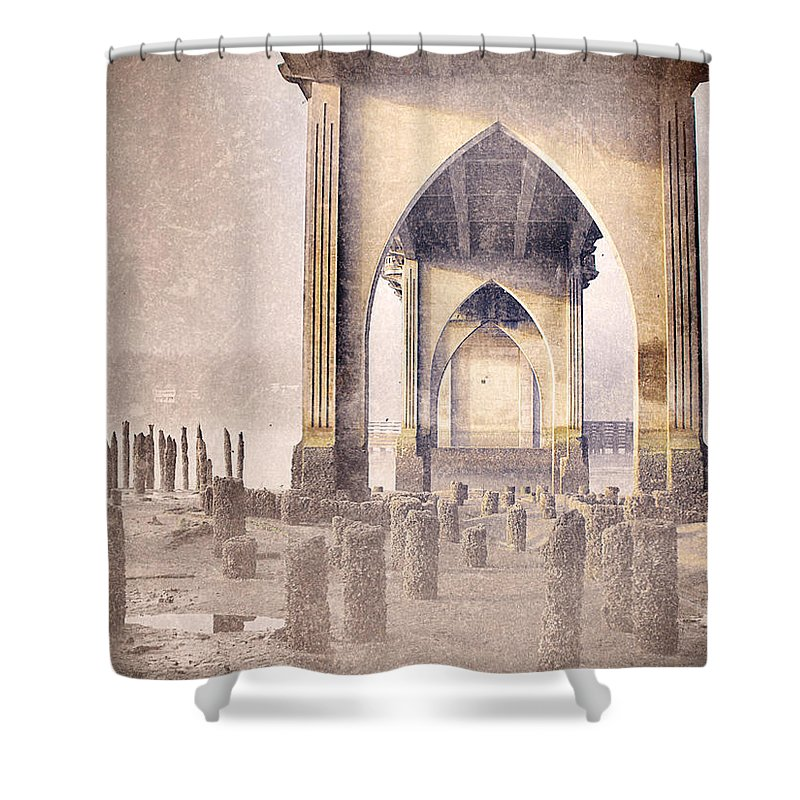 Bridge Shower Curtain featuring the photograph The Bridge On The Day I Left 2 by Tara Turner