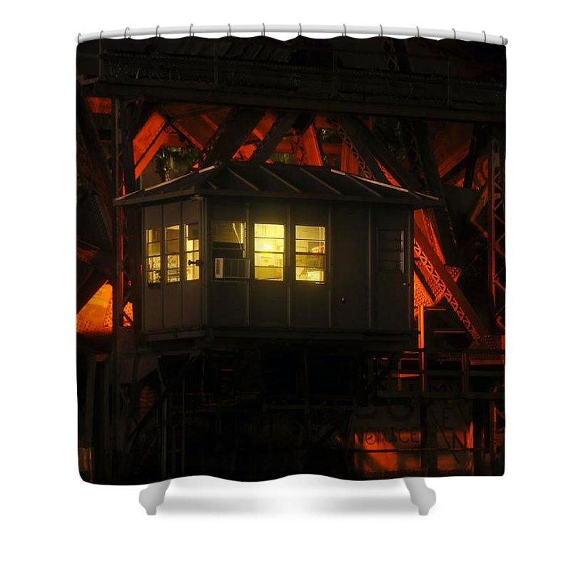 Bridge Shower Curtain featuring the photograph The Bridge Tenders House by David Lee Thompson