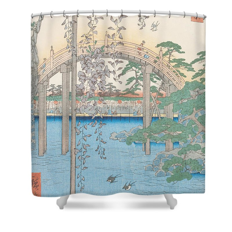 Wooden River Tokyo Flowers Plant Blossom Shower Curtain Featuring The Drawing