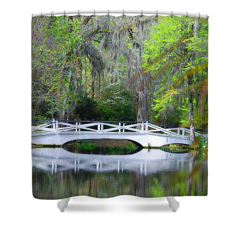 Photography Shower Curtain featuring the photograph The Bridges In Magnolia Gardens by Susanne Van Hulst