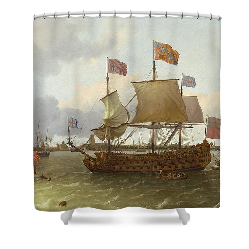 The Shower Curtain featuring the painting The Britannia In Rotterdam by Ludolf Backhuysen