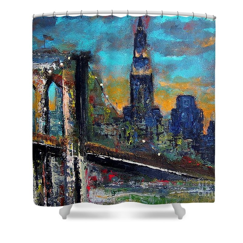 Bridges Shower Curtain featuring the painting The Brooklyn Bridge by Frances Marino