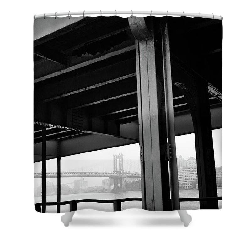 Brooklyn Shower Curtain featuring the photograph The Brooklyng Bridge And Manhattan Bridge From Fdr Drive by PorqueNo Studios