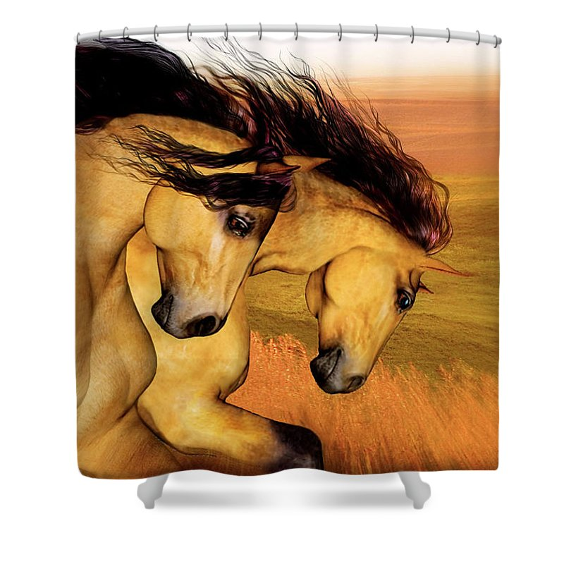 Animal Art Shower Curtain featuring the painting The Buckskins by Valerie Anne Kelly
