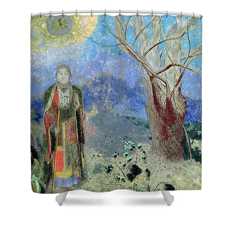 The Shower Curtain Featuring Painting Buddha By Odilon Redon