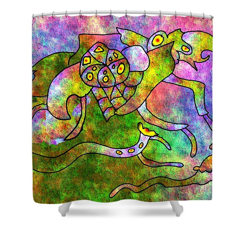 Bugs Color Texture Abstract Fun Shower Curtain featuring the digital art The Bugs by Veronica Jackson
