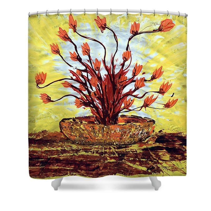 Red Bush Shower Curtain featuring the painting The Burning Bush by J R Seymour