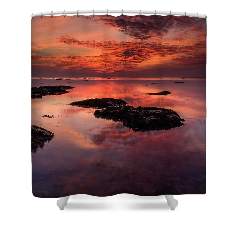 Atmosphere Shower Curtain featuring the photograph The Burning Cloud by Erwin Ussdek