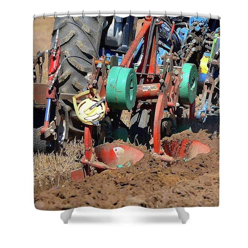 Farm Shower Curtain featuring the photograph The Business End Of A Tractor Two by Lyle Crump