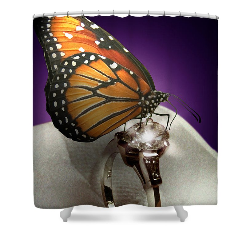 Fantasy Shower Curtain featuring the photograph The Butterfly And The Engagement Ring by Yuri Lev