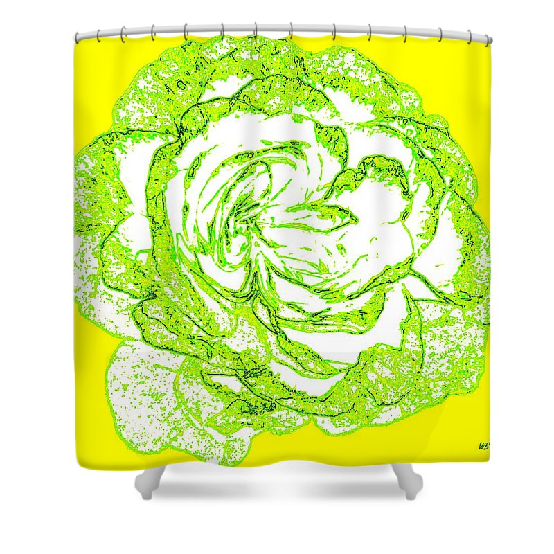 Abstract Shower Curtain featuring the digital art The Cabbage Rose by Will Borden