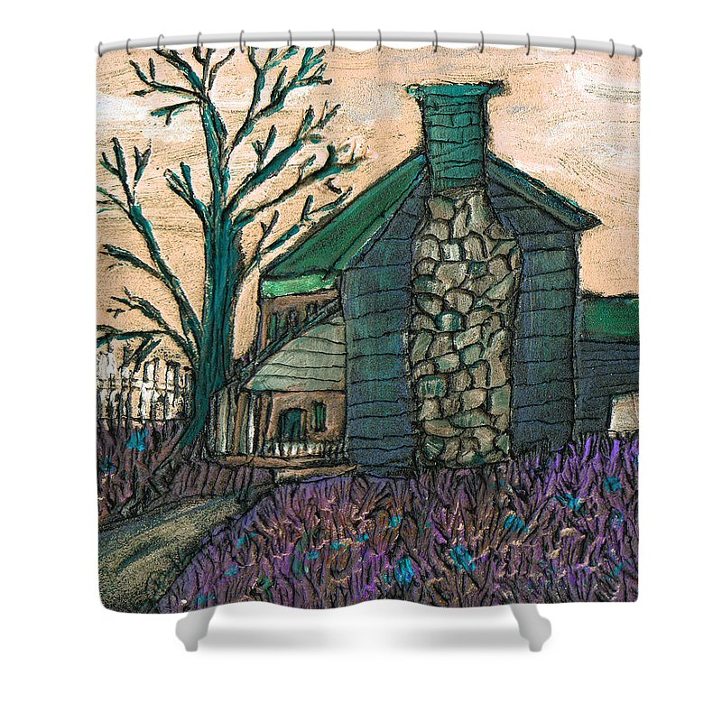 Cabin Shower Curtain featuring the painting The Cabin 2 by Wayne Potrafka