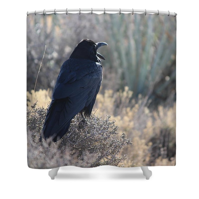 Raven Shower Curtain featuring the photograph The Call by Fredrecka Bagnato