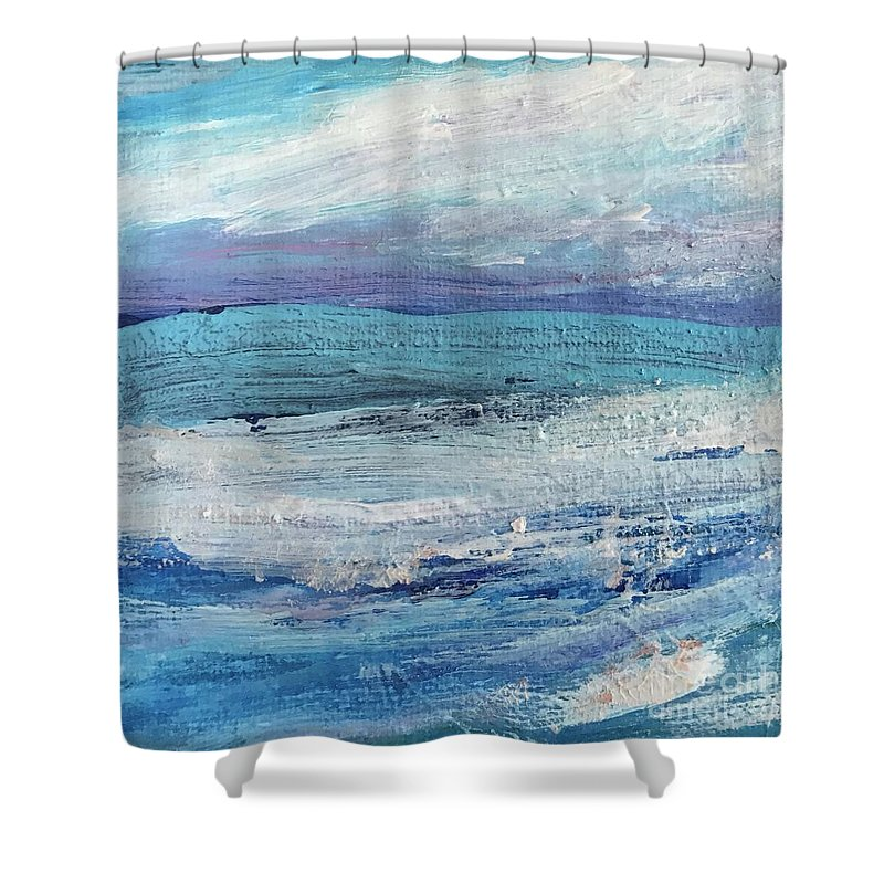 Calm Shower Curtain featuring the painting The Calm Before The Storm by Sherry Harradence