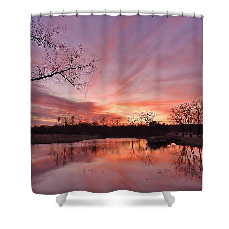 Sunset Shower Curtain featuring the photograph The Calm East Of The Storm by Red Cross