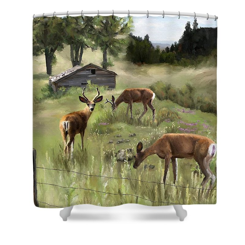 Deer Shower Curtain featuring the painting The Calm by Susan Kinney