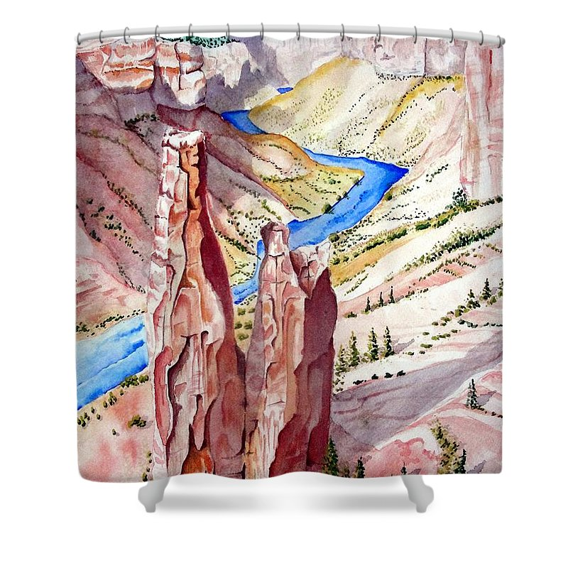 Canyon Shower Curtain featuring the painting The Canyon by Jimmy Smith