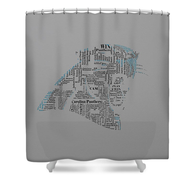 Carolina Panthers Shower Curtain Featuring The Mixed Media Text Art 1a By Brian