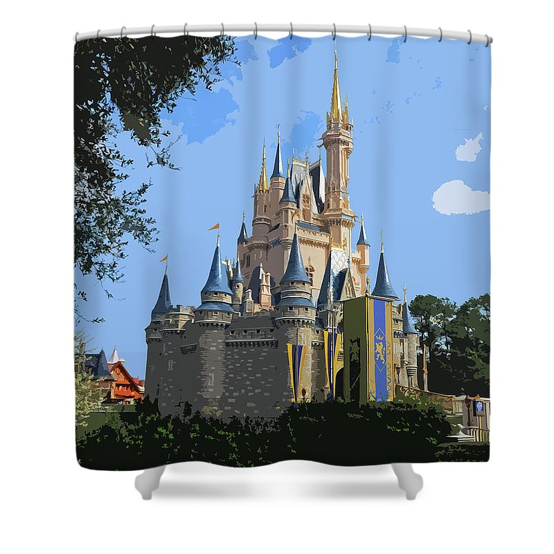 Cinderella Shower Curtain featuring the digital art The Castle by Norman Coleman III