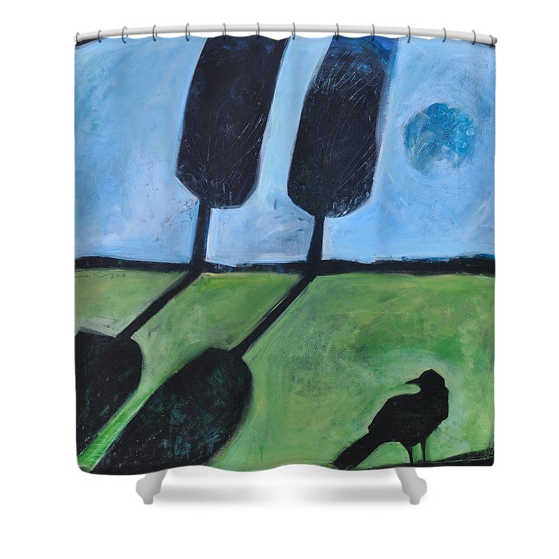 Bird Shower Curtain featuring the painting The Casual Observer by Tim Nyberg