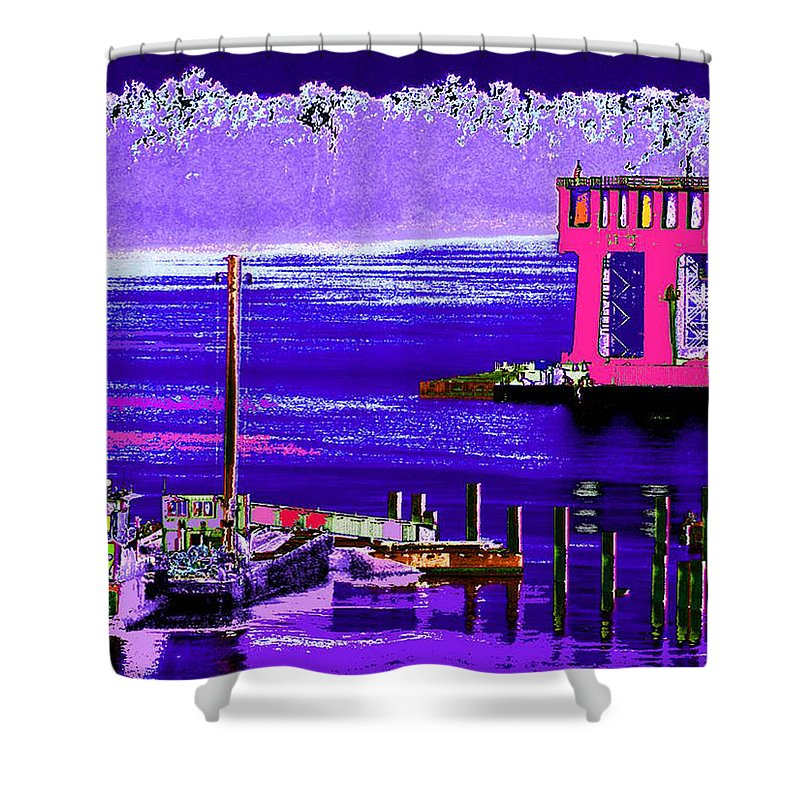 Abstract Shower Curtain featuring the digital art The Cat And The Tug by Rachel Christine Nowicki