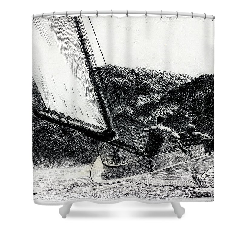 Edward Hopper Shower Curtain Featuring The Drawing Cat Boat By