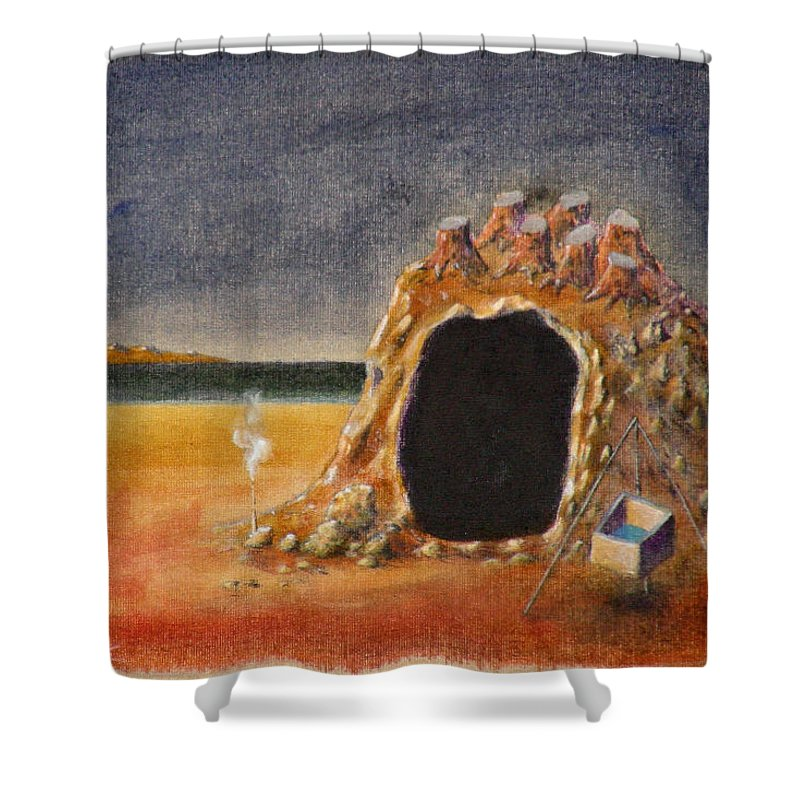 Metaphysacal Shower Curtain featuring the painting The Cave Of Orpheas by Dimitris Milionis