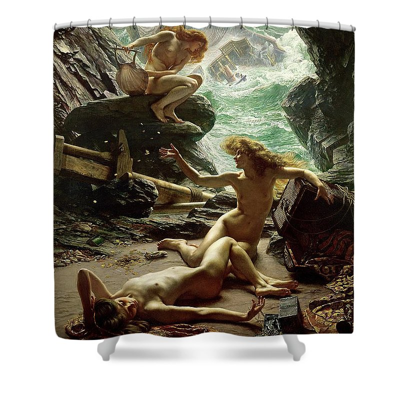 The Cave Of The Storm Nymphs Shower Curtain featuring the painting The Cave Of The Storm Nymphs by Sir Edward John Poynter
