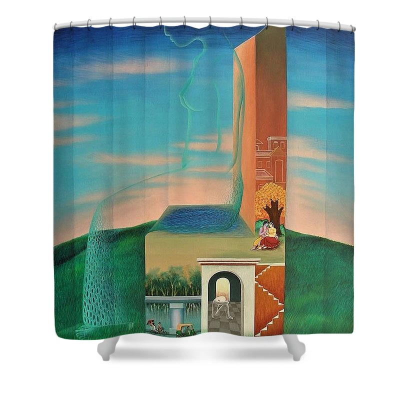 Romantic Shower Curtain featuring the painting The Chair For You by Raju Bose