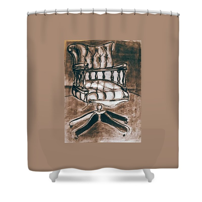 Chair Shower Curtain featuring the pastel The Chair Of Constandinos by Michael Adams