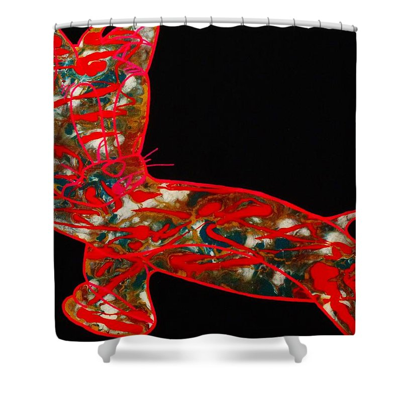 Red Shower Curtain featuring the painting Hidden Messages by Dane Newton