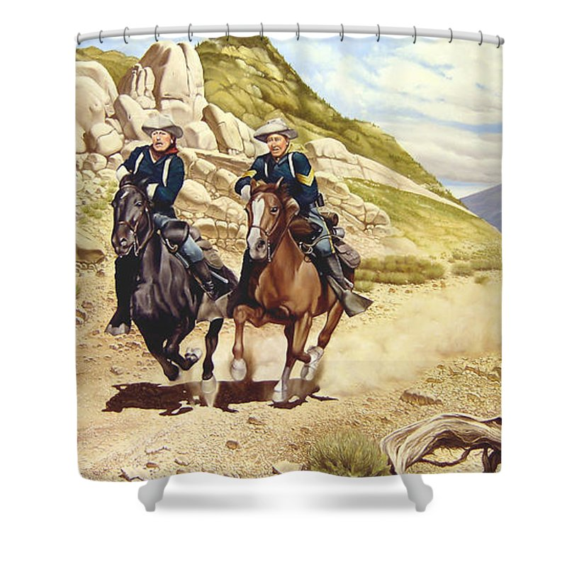 Western Shower Curtain featuring the painting The Chase by Marc Stewart