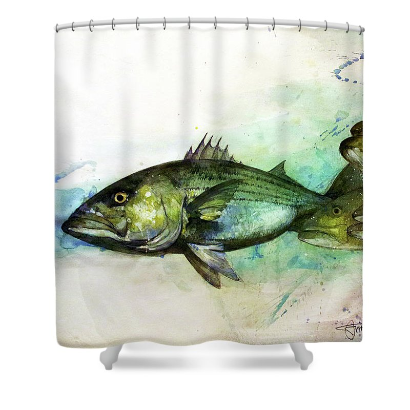 Striped Bass Shower Curtain featuring the painting The Chase by Savio Mizzi