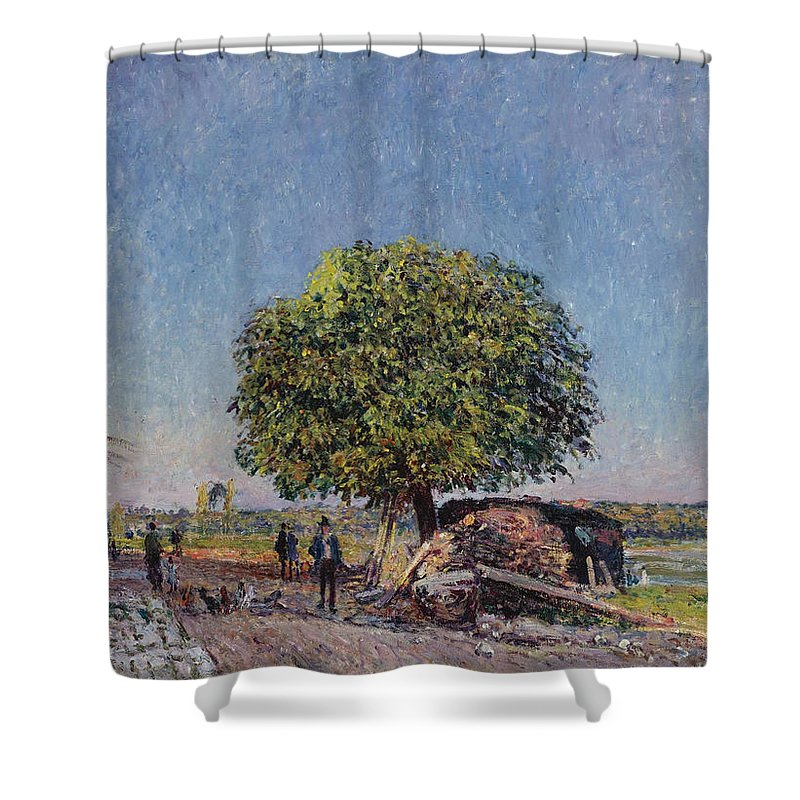 Alfred Sisley Shower Curtain featuring the painting The Chestnut Tree At Saint-mammes by Alfred Sisley