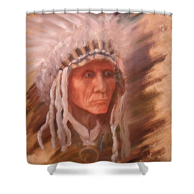 Shower Curtain featuring the painting The Chief by Teresa Davis