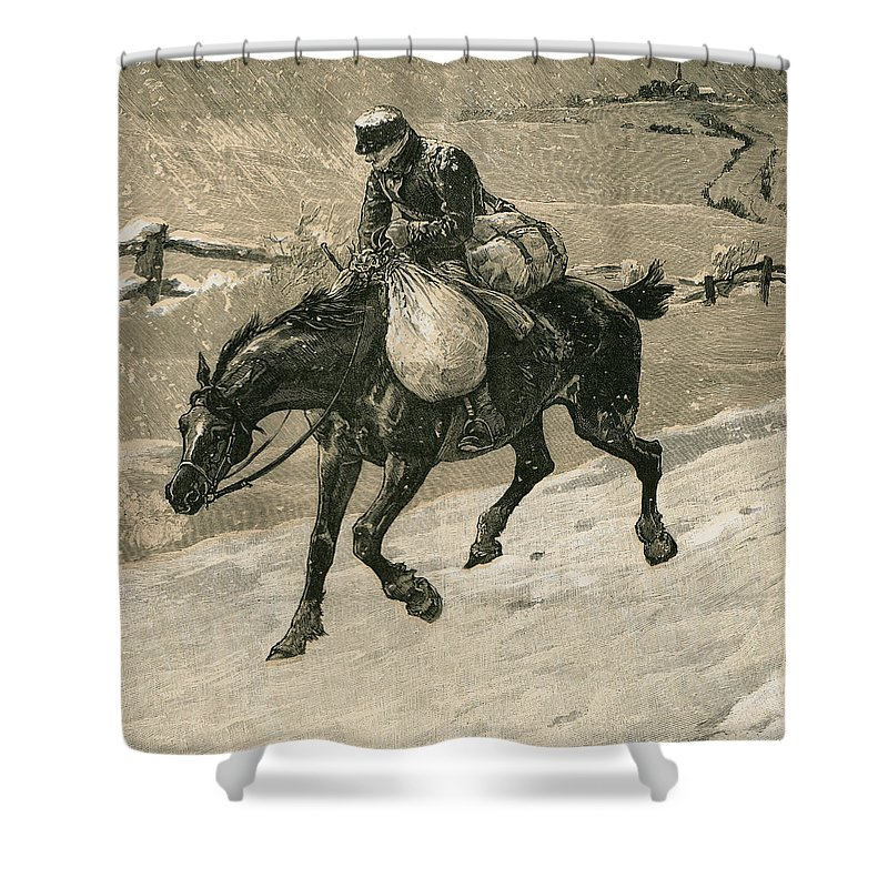 Christmas Shower Curtain featuring the drawing The Christmas Postman by John Charles Dollman