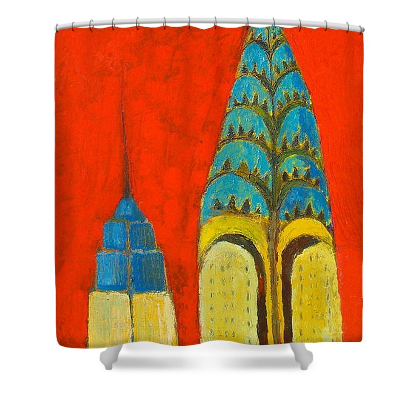 Shower Curtain featuring the painting The Chrysler And The Empire State by Habib Ayat