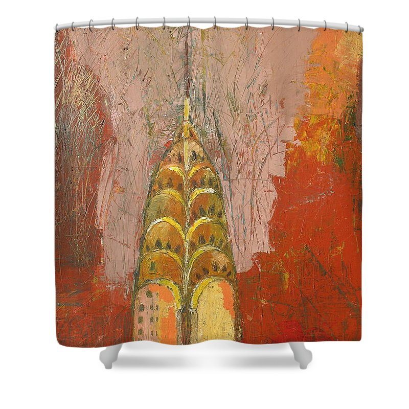 Abstract Cityscape Shower Curtain featuring the painting The Chrysler In Motion by Habib Ayat