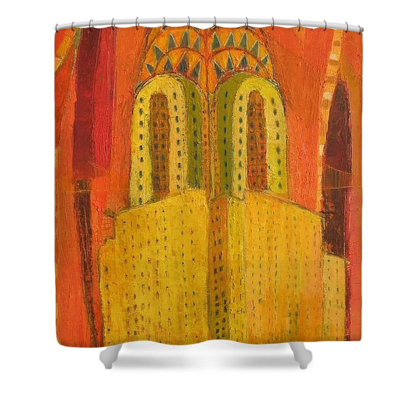 Abstract Cityscape Shower Curtain featuring the painting The Chrysler In Red by Habib Ayat